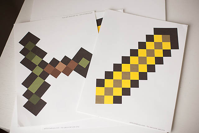 Punchy image within printable minecraft sword