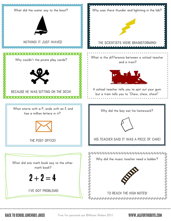 FREE PRINTABLE SCHOOL LUNCH NOTES / JOKES! — All for the Boys